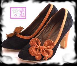 韩版粗跟复古蝴碟结单鞋 38码,$50-出口欧美单鞋 断码鞋清货平卖