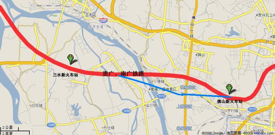 佛山,新火车站 卫星地图及部份政府资料