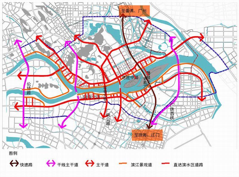 (道路规划系统示意图)-顺德规划德胜河一河两岸 大良容桂之间或建